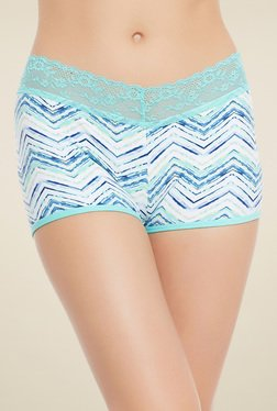 Clovia Sky Blue & White Mid Waist Printed Boyshort Panties