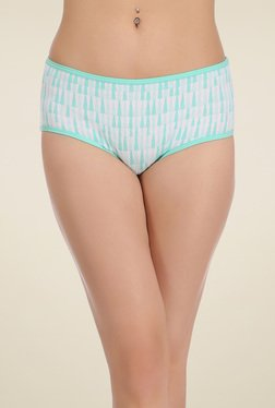 Clovia Off-White & Turquoise Mid Waist Hipster Panties