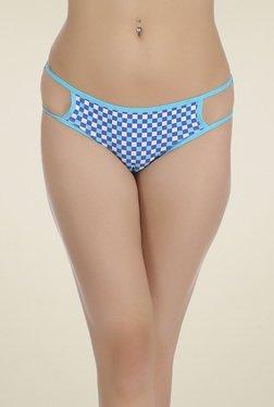 Clovia Aqua Blue & White Mid Waist Checks Bikini Panties