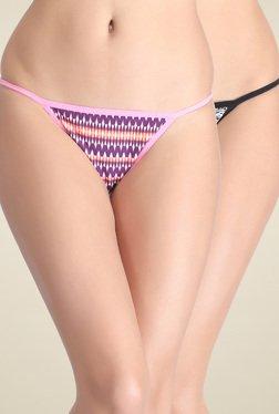 Clovia Pink & Black Low Waist Bikini Panties (Pack Of 2)