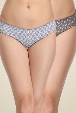 Clovia Ash & Dark Grey Mid Waist Bikini Panties (Pack Of 2)