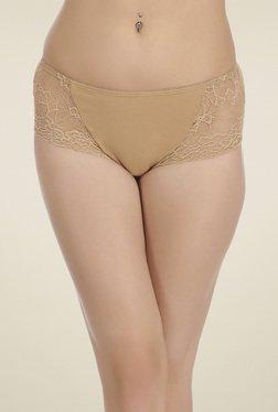 Clovia Beige Mid Waist Lace Hipster Panties