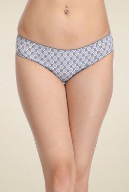 Clovia Grey Printed Mid Waist Bikini Panties