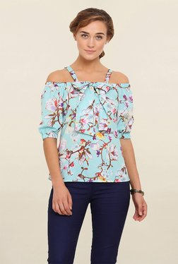 Instacrush Light Blue Floral Print Top