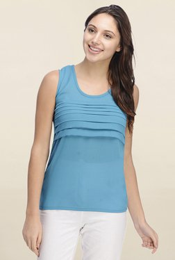 Rigo Blue Solid Pleated Front Top