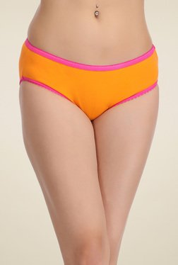 Clovia Orange Cotton Mid Waist Bikini Panties