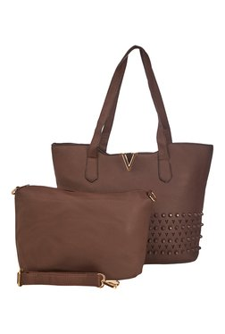 Vero Couture Coffee Brown Riveted Tote With Sling Bag