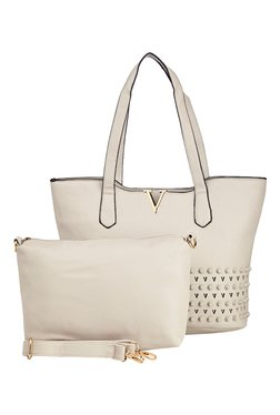 Vero Couture Light Grey Riveted Tote With Sling Bag