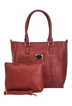 Vero Couture Maroon Textured Tote With Sling Bag