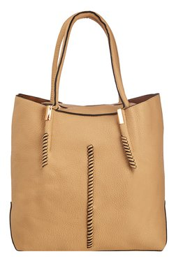 Vero Couture Beige Textured Tote With Sling Bag