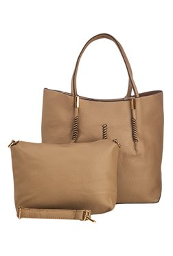 Vero Couture Brown Textured Tote With Sling Bag