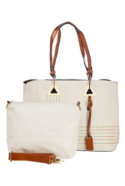 Vero Couture White Stitched Tote With Sling Bag