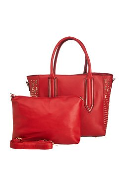 Vero Couture Dark Red Riveted Tote With Sling Bag