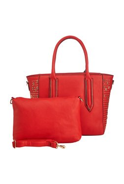 Vero Couture Tomato Red Riveted Tote With Sling Bag