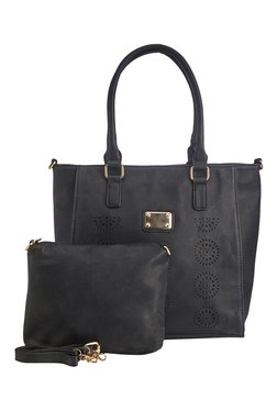 Vero Couture Black Laser Cut Tote With Sling Bag