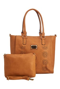 Vero Couture Tan Textured Tote With Sling Bag