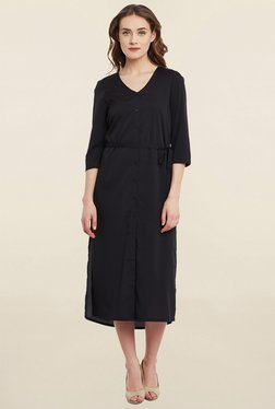 Mocking Bird Black Midi Dress