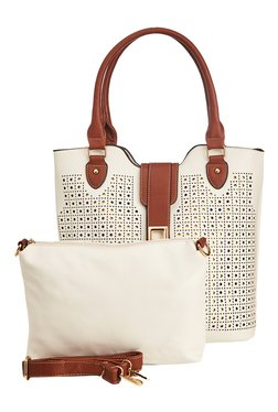 Vero Couture White Perforated Tote With Sling Bag