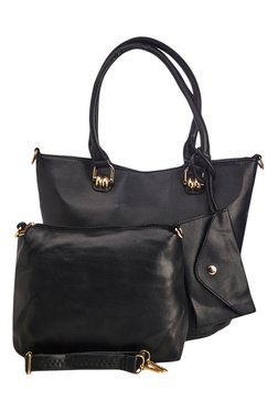 Vero Couture Black Solid Tote With Wristlet & Sling Bag