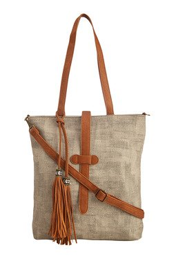 Vero Couture Grey Tote With Tassel Detail