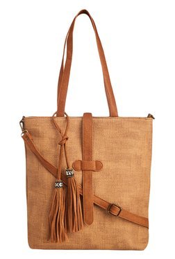 Vero Couture Tan Tote With Tassel Detail