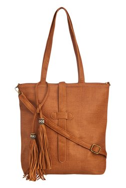 Vero Couture Brown Tote With Tassel Detail