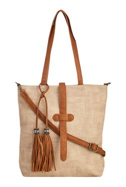 Vero Couture Beige Tote With Tassel Detail