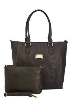Vero Couture Dark Green Textured Tote With Sling Bag