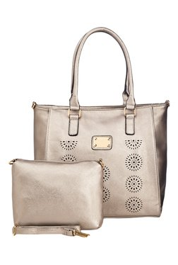 Vero Couture Silver Textured Tote With Sling Bag