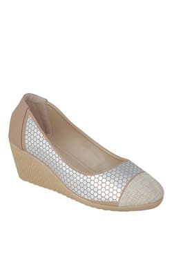 Vero Couture Beige & Silver Wedge Heeled Pumps