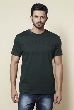 Zudio Green Crew Neck Regular Fit T Shirt - Mp000000001260166