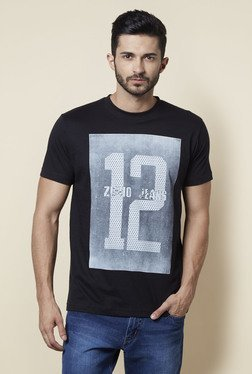 Zudio Black Crew Neck Regular Fit T Shirt - Mp000000001260253