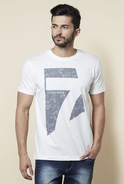 Zudio White Crew Neck Regular Fit T Shirt