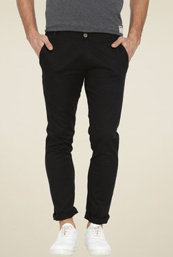 Hubberholme Black Slim Fit Cotton Chinos