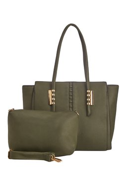 Vero Couture Olive Green Panelled Shoulder Bag With Pouch