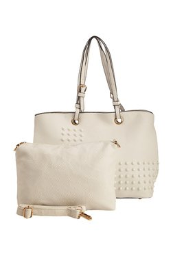 Vero Couture White Riveted Shoulder Bag With Sling Bag