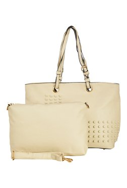 Vero Couture Off-White Riveted Shoulder Bag With Sling Bag