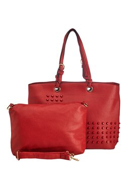Vero Couture Red Riveted Shoulder Bag With Sling Bag