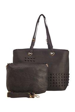Vero Couture Black Riveted Shoulder Bag With Sling Bag