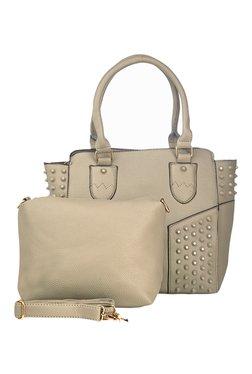 Vero Couture Beige Riveted Shoulder Bag With Sling Bag