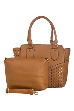 Vero Couture Brown Riveted Shoulder Bag With Sling Bag