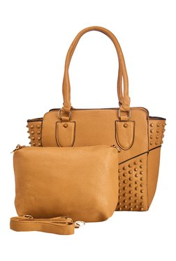 Vero Couture Tan Riveted Shoulder Bag With Sling Bag