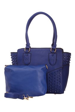 Vero Couture Blue Riveted Shoulder Bag With Sling Bag