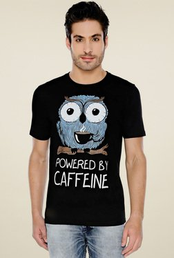 The Souled Store Black Regular Fit Round Neck T-Shirt