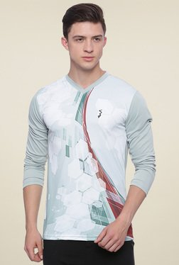 Campus Sutra Light Grey Printed Regular Fit T-Shirt