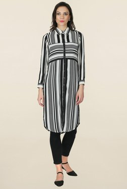 Juniper Black & White Striped Shirt Kurta