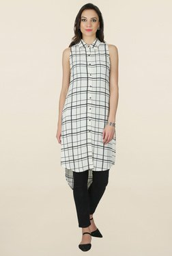 Juniper White Checks Shirt Kurta