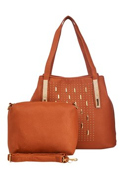 Vero Couture Tan Riveted Shoulder Bag With Pouch