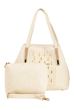 Vero Couture White Riveted Shoulder Bag With Pouch