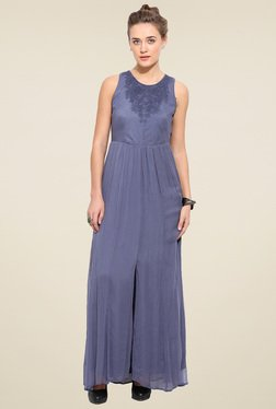 Blue Sequin Grey Sleeveless Maxi Dress